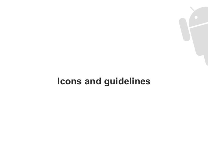 Icons and guidelines
