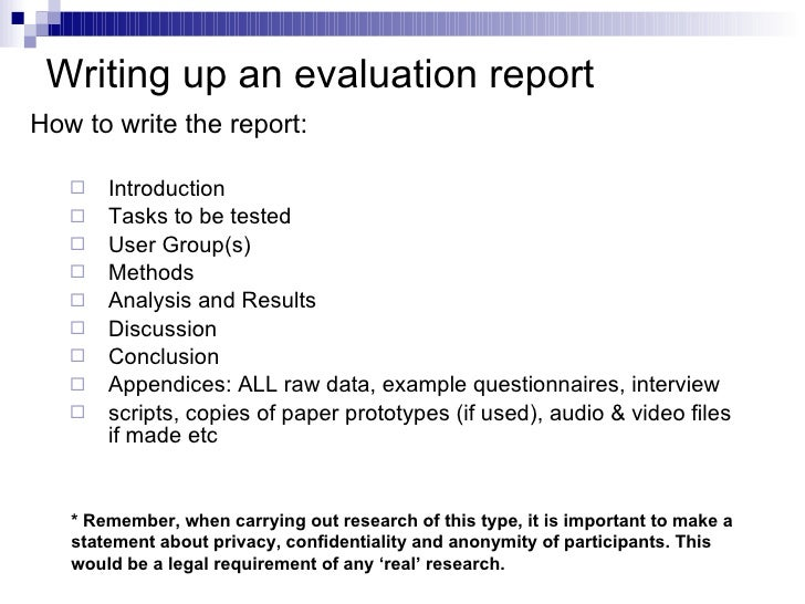 Writing an evaluation report