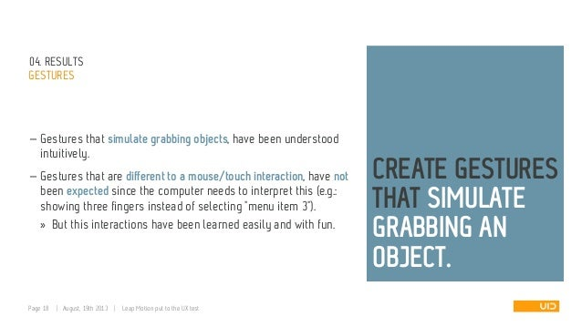 04. RESULTS GESTURES — Gestures that simulate grabbing objects, have been understood intuitively. — Gestures that are diff...