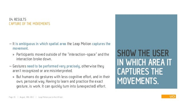 04. RESULTS CAPTURE OF THE MOVEMENTS — It is ambiguous in which spatial area the Leap Motion captures the movement. » Part...