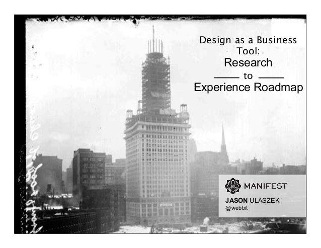 Design as a Business Tool: Research to Experience Roadmap JASON ULASZEK @webbit