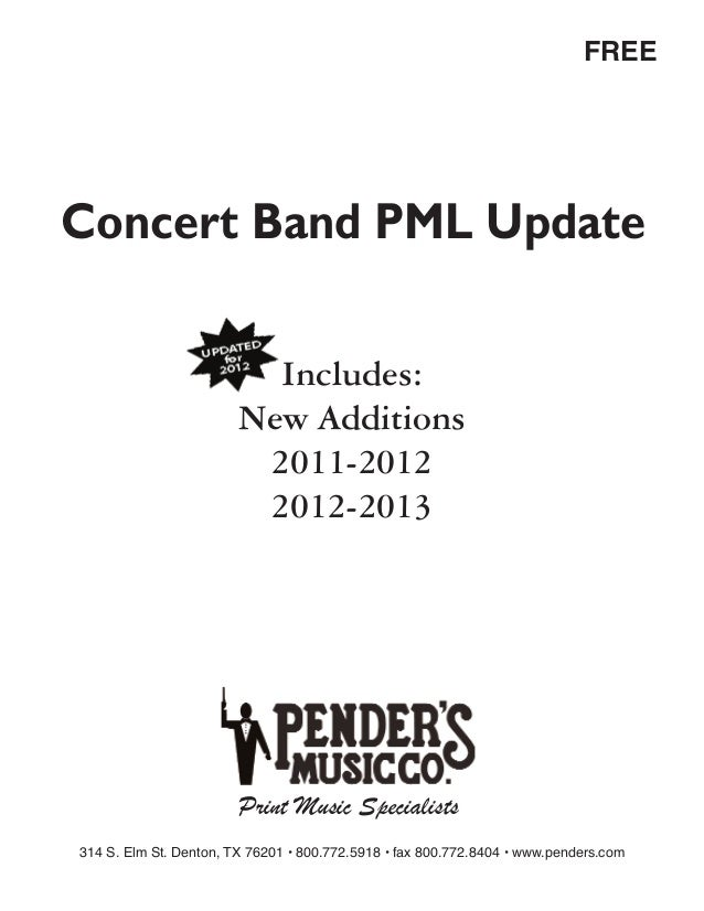FREEConcert Band PML Update                          Includes:                        New Additions                       ...