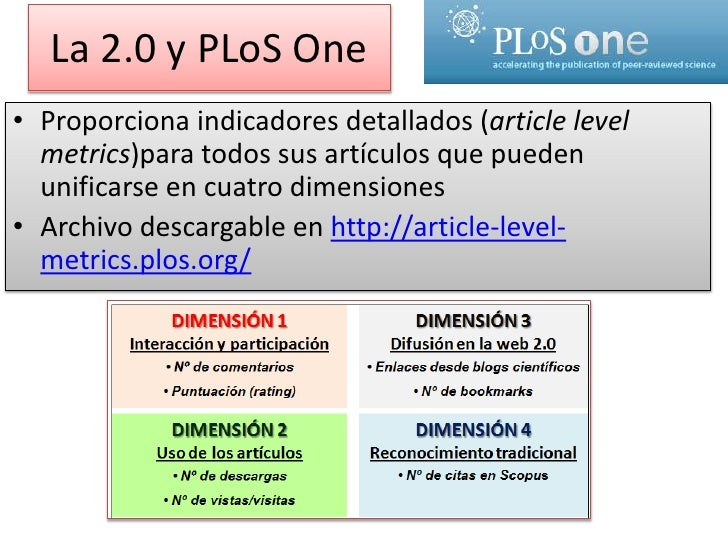 La 2.0 y PLoS One<br />Proporciona indicadores detallados (articlelevelmetrics)para todos sus artículos que pueden unifica...