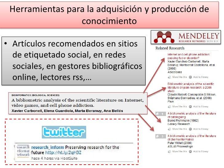 Herramientas para la adquisición y producción de conocimiento <br />Artículos recomendados en sitios de etiquetado social,...