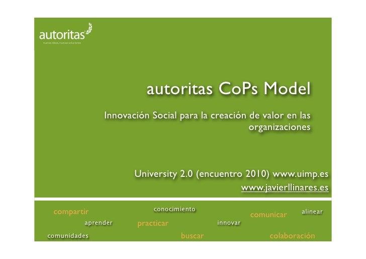 autoritas CoPs Model               Innovación Social para la creación de valor en las                                     ...