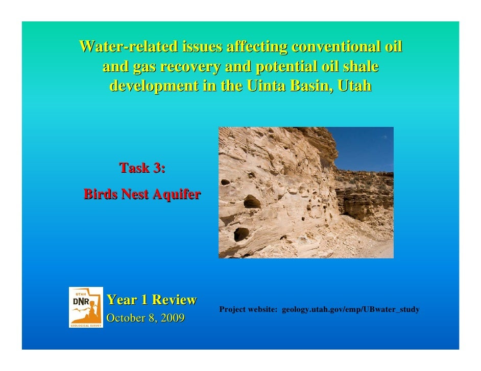 Water-related issues affecting conventional oil   and gas recovery and potential oil shale    development in the Uinta Bas...