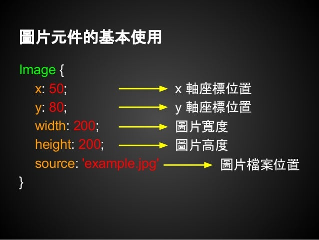 Rectangle { x: 50; y: 80; width: 200; height: 200; radius: 5; color: 'red'; } 矩形元件的基本使用