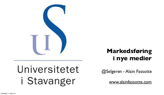 Markedsføring                        i nye medier                     @Selgeren - Alain Fassotte                        ww...