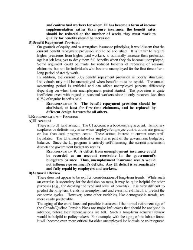 Unemployment Insurance in Canada: proposals for reform on employee benefits form, workers compensation form, leave of absence form, job search form, immigration form, interest form, medicaid form, liability form, fmla form, maternity leave form, income form, healthcare form, wic form, security form, bankruptcy form, risk management form,