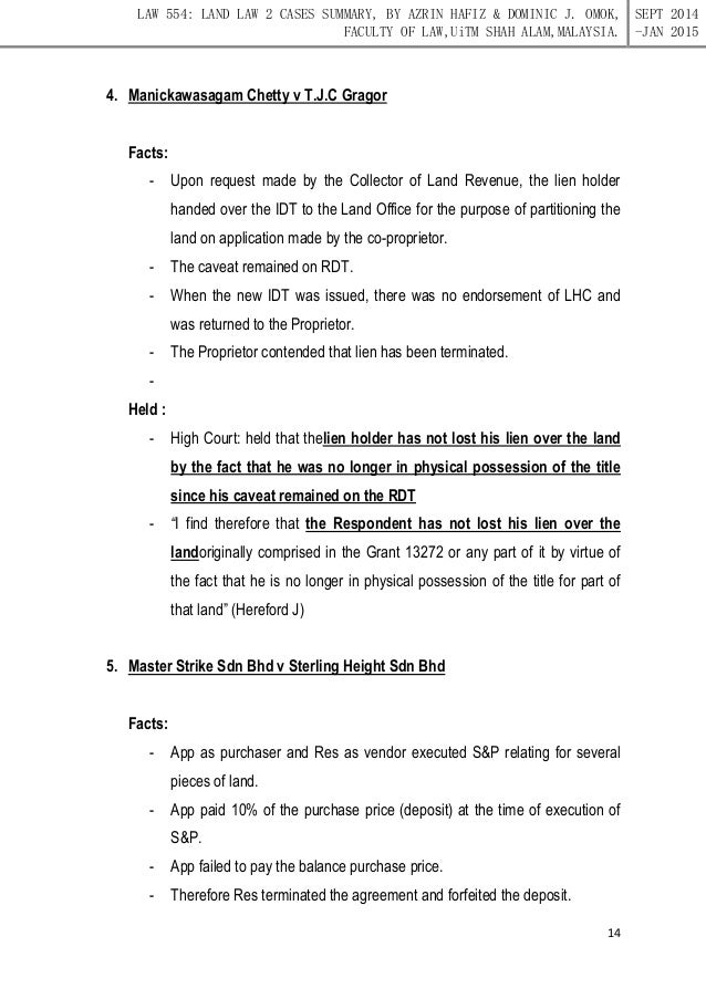 Land Law Ii Notes For Revision Purposes Only