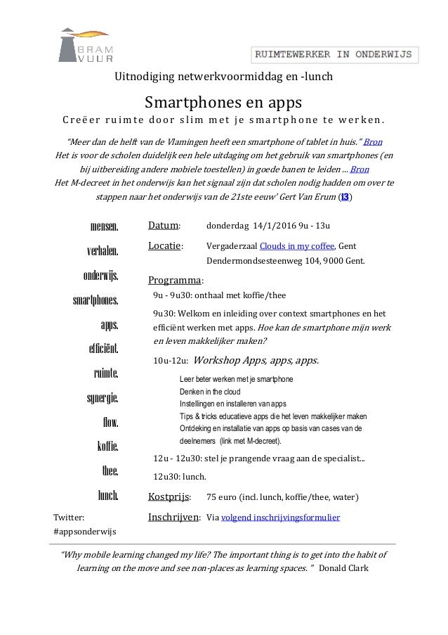 """Uitnodiging netwerkvoormiddag en -lunch Smartphones en apps Creëer ruimte door slim met je smartp hone te werken. """"Meer da..."""