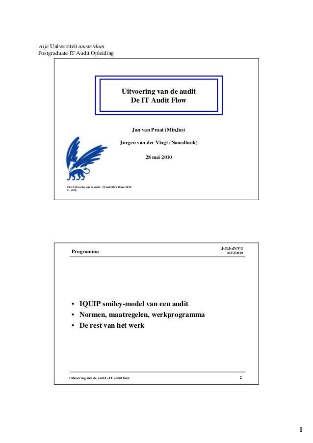 1 vrije Universiteit amsterdam Postgraduate IT Audit Opleiding Uitvoering van de audit De IT Audit Flow File: Uitvoering v...
