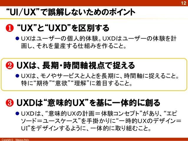 """12   """"UI/UX""""で誤解しないためのポイント   ❶ """"UX""""と""""UXD""""を区別する               UXはユーザーの個人的体験。UXDはユーザーの体験を計                画し、それを量産する仕組みを作ること..."""