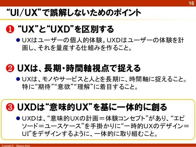 """16   """"UI/UX""""で誤解しないためのポイント   ❶ """"UX""""と""""UXD""""を区別する               UXはユーザーの個人的体験。UXDはユーザーの体験を計                画し、それを量産する仕組みを作ること..."""