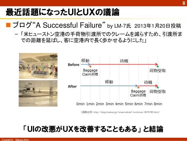 """8   最近話題になったUIとUXの議論    ブログ""""A Successful Failure"""" by LM-7氏                                  2013年1月20日投稿              – 「..."""