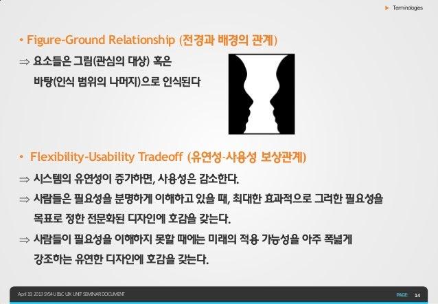 ▶ Terminologies• Figure-Ground Relationship (전경과 배경의 관계) 요소들은 그림(관심의 대상) 혹은       바탕(인식 범위의 나머지)으로 인식된다• Flexibility-Usab...