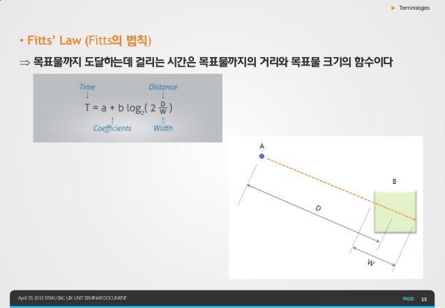 ▶ Terminologies• Fitts' Law (Fitts의 법칙) 목표물까지 도달하는데 걸리는 시간은 목표물까지의 거리와 목표물 크기의 함수이다April 19, 2013 SYS4U I&C UIX UNIT SEMI...