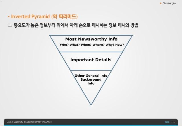 ▶ Terminologies• Inverted Pyramid (역 피라미드) 중요도가 높은 정보부터 위에서 아래 순으로 제시하는 정보 제시의 방법April 19, 2013 SYS4U I&C UIX UNIT SEMINA...