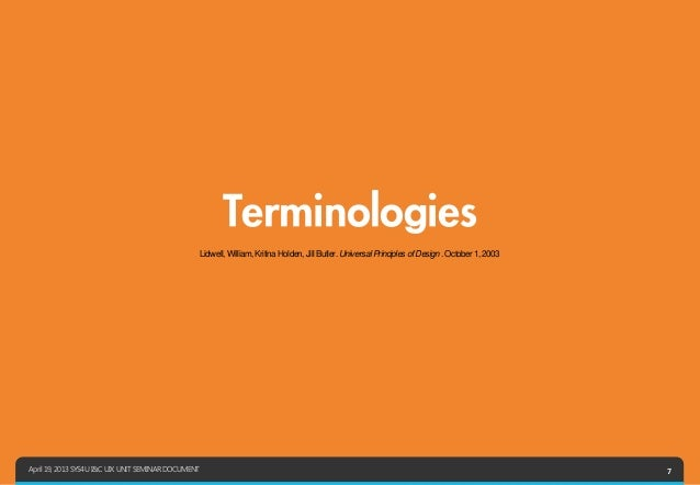 Terminologies                                                     Lidwell, William, Kritina Holden, Jill Butler. Universal...