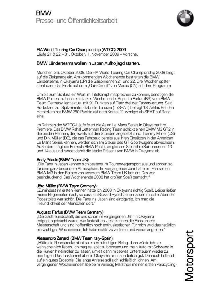 BMWPresse-Presse- und Öffentlichkeitsarbeit                                             2009FIA World Touring Car Champion...