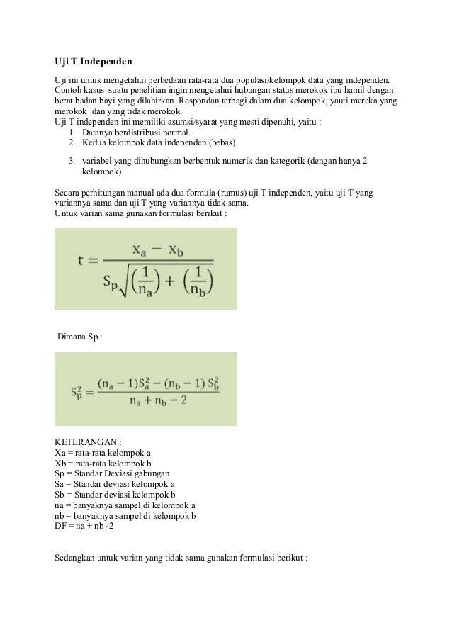 Contoh Skripsi Dengan Uji T Test Independent Kumpulan Berbagai Skripsi