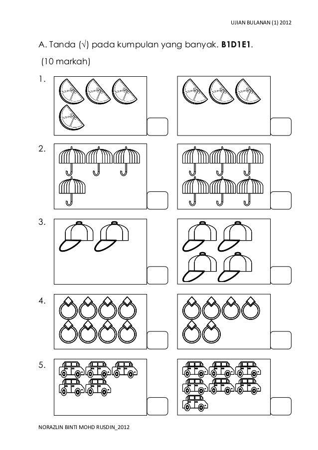 UJIAN BULANAN (1) 2012A. Tanda (√) pada kumpulan yang banyak. B1D1E1.(10 markah)1.2.3.4.5.NORAZLIN BINTI MOHD RUSDIN_2012
