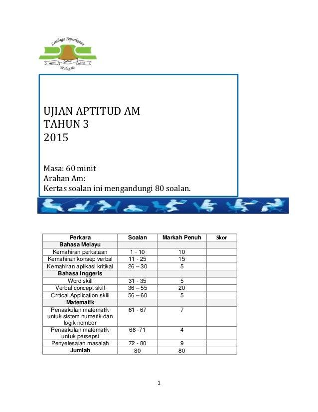 1 Perkara Soalan Markah Penuh Skor Bahasa Melayu Kemahiran perkataan 1 - 10 10 Kemahiran konsep verbal 11 - 25 15 Kemahira...