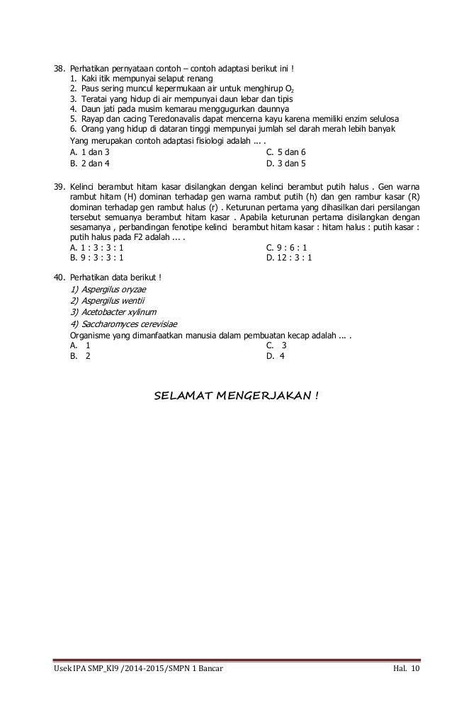 Soal Ujian Sekolah Ipa Kelas 9 Smp Tp 2014 2015