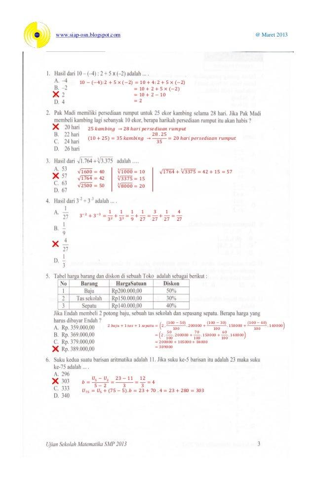 Ujian Sekolah Matematika Smp 2013 Kelas 9 Dinas Pendidikan