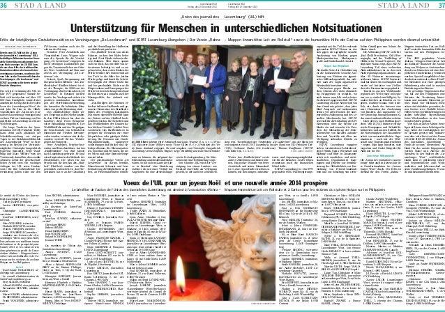 "36  STA D A L A N D  Luxemburger Wort Freitag, den 20. Dezember 2013  ""Union des journalistes  STA D A L A N D  Luxemburge..."