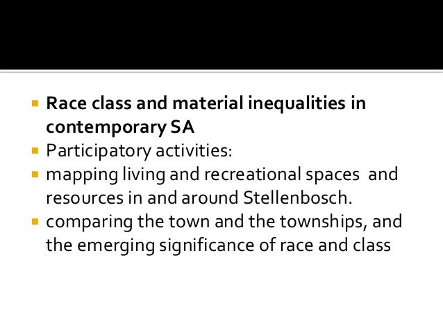  Race class and material inequalities in contemporary SA  Participatory activities:  mapping living and recreational sp...