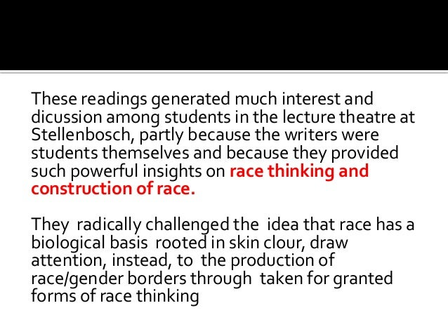 These readings generated much interest and dicussion among students in the lecture theatre at Stellenbosch, partly because...