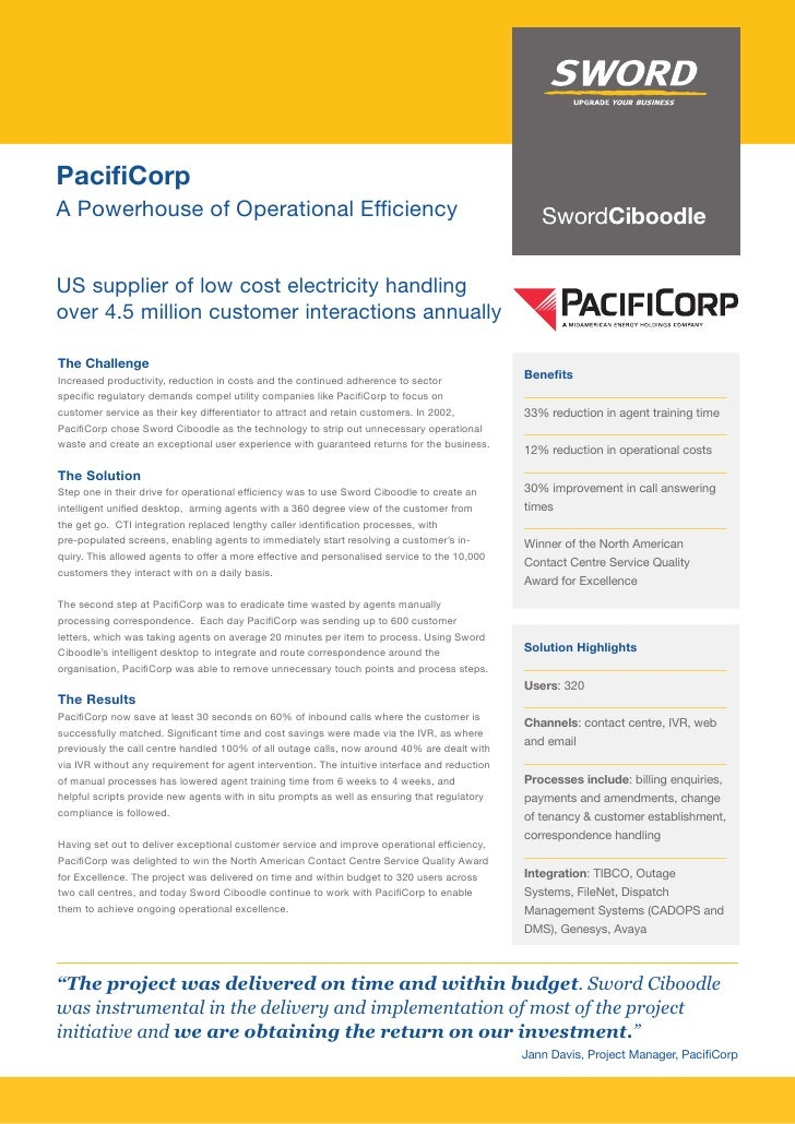 PacifiCorp A Powerhouse of Operational Efficiency   US supplier of low cost electricity handling over 4.5 million customer...