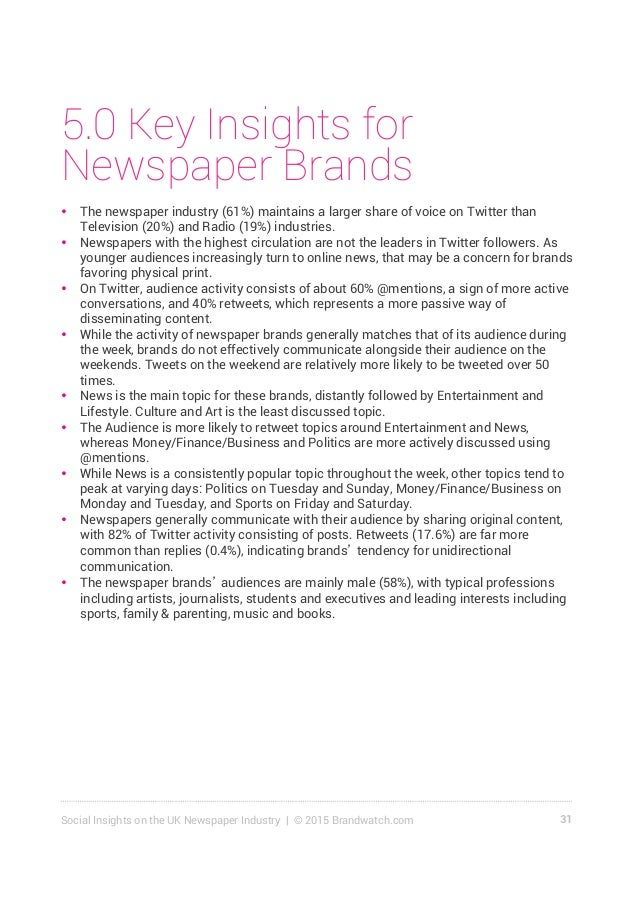 32Social Insights on the UK Newspaper Industry | © 2015 Brandwatch.com 5.1 Summary & Key Insights for The Independent With...