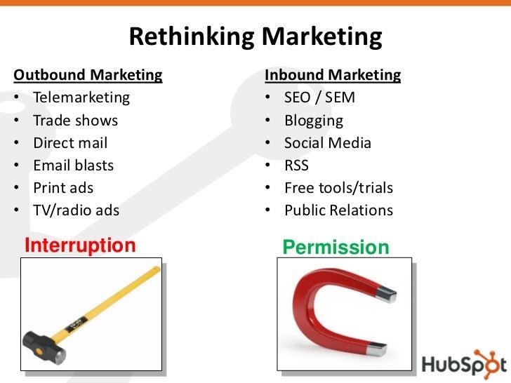 Rethinking Marketing Outbound Marketing     Inbound Marketing • Telemarketing        • SEO / SEM • Trade shows          • ...