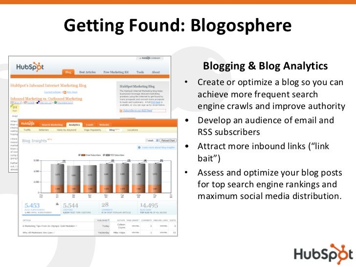 Getting Found: Blogosphere                  Blogging & Blog Analytics              • Create or optimize a blog so you can ...