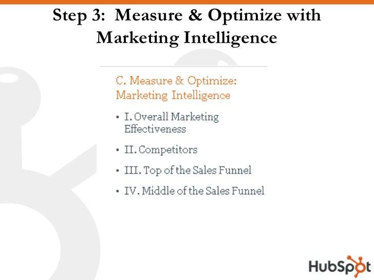 Step 3: Measure & Optimize with       Marketing Intelligence