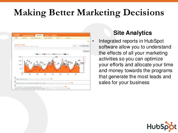 Making Better Marketing Decisions                           Site Analytics                  • Integrated reports in HubSpo...