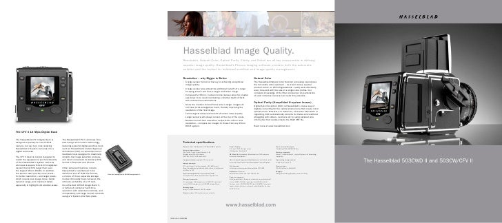 The Hasselblad 503CWD II and 503CW/CFV II  The Hasselblad 503CWD