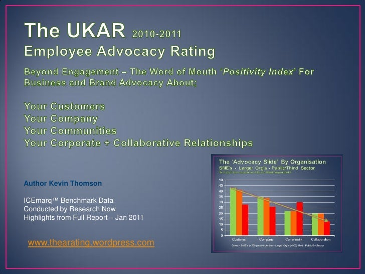 Author Kevin ThomsonICEmarq™ Benchmark DataConducted by Research NowHighlights from Full Report – Jan 2011 www.thearating....
