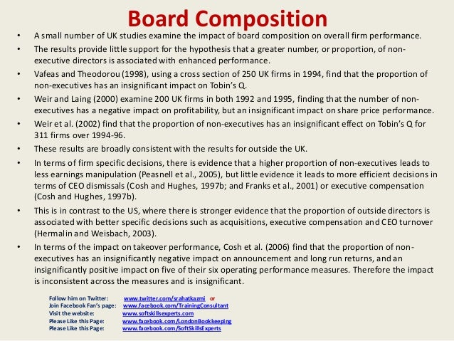 board composition and firm performance Board tenure and firm performance sterling huang1 change in board composition or 2) passage of time the paper disentangles these two effects and.