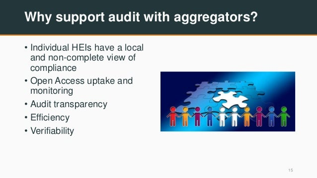 Why support audit with aggregators? • Individual HEIs have a local and non-complete view of compliance • Open Access uptak...