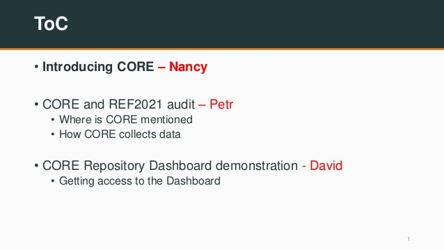 ToC • Introducing CORE – Nancy • CORE and REF2021 audit – Petr • Where is CORE mentioned • How CORE collects data • CORE R...
