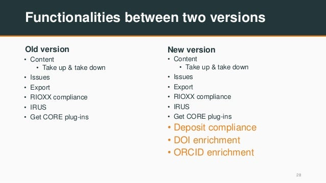 Functionalities between two versions Old version • Content • Take up & take down • Issues • Export • RIOXX compliance • IR...