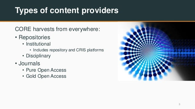 Types of content providers CORE harvests from everywhere: • Repositories • Institutional • Includes repository and CRIS pl...