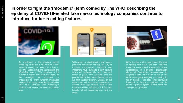 SOCIALMEDIA In order to fight the 'infodemic' (term coined by The WHO describing the epidemy of COVID-19-related fake news...