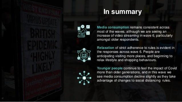 37 In summary Media consumption remains consistent across most of the waves, although we are seeing an increase of video s...