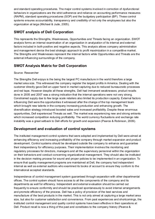 an analysis of the dell corporation management system Looking for newest microsoft corporation swot analysis for  consumer electronics such as tablets and game system  in strategic management turned into.