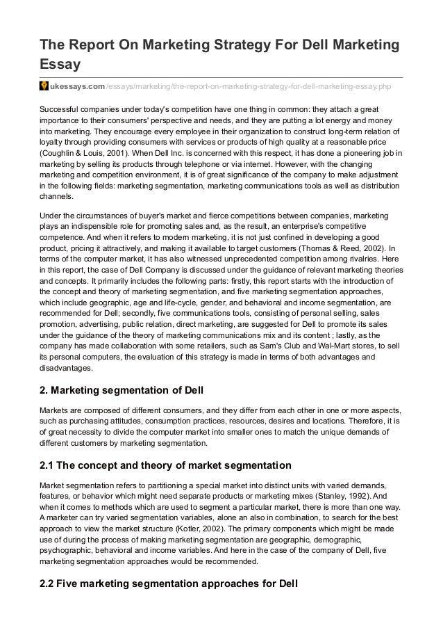 Ukessays.com the report on marketing strategy for dell marketing essay