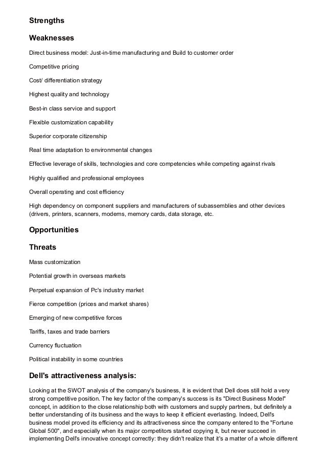 dell inc situation analysis and swot Strategic analysis of acer inc business and marketing research paper undergraduate level  strategic analysis of acer name  in a swot analysis of the company,.